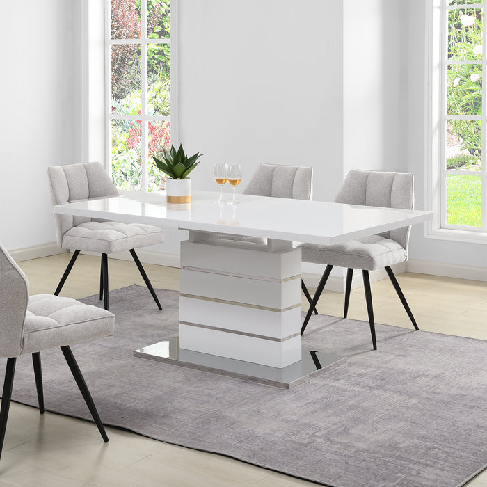 Hayne High Gloss White Extending Dining Table 6 to 8 Seater 2
