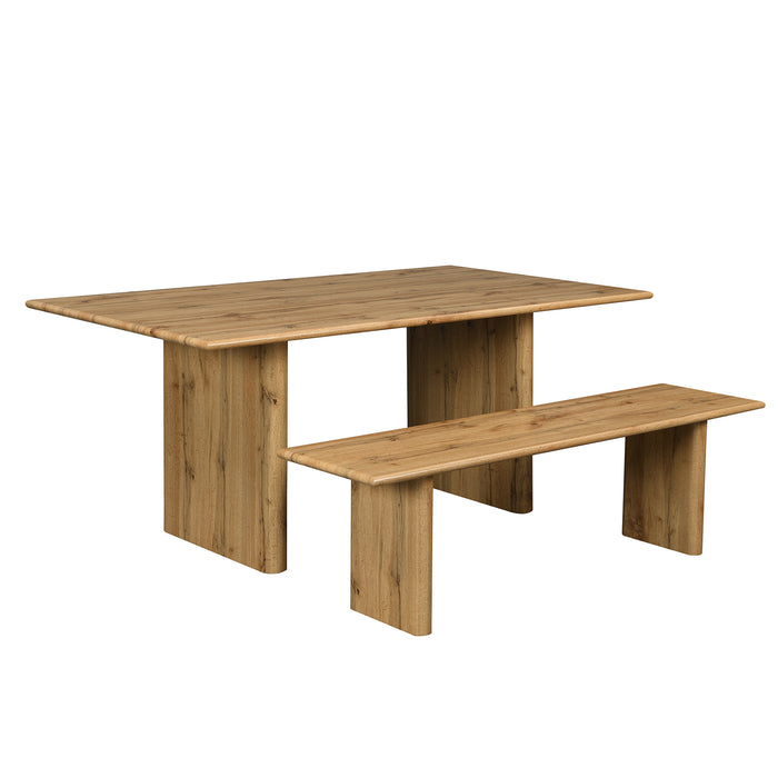 Kennett Oak Effect 180 cm Dining Table and Bench Set 3