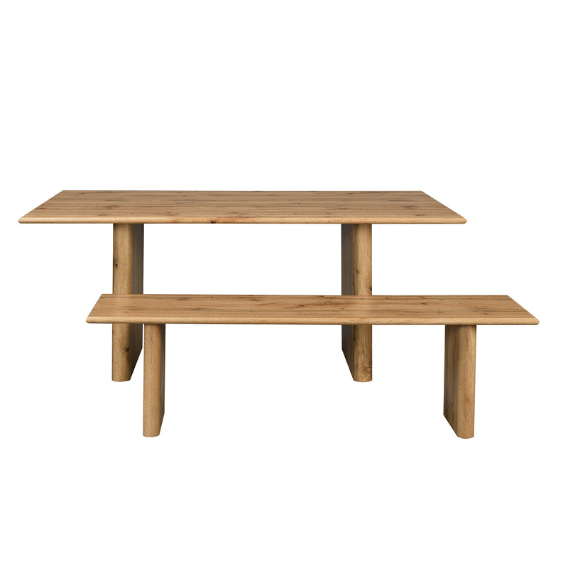 Kennett Oak Effect 180 cm Dining Table and Bench Set 4