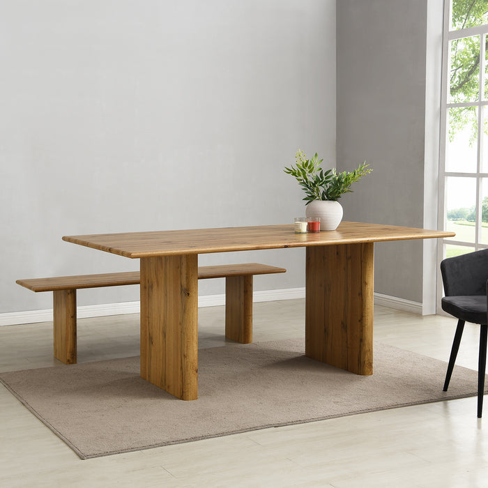 Kennett Oak Effect 180 cm Dining Table and Bench Set 1