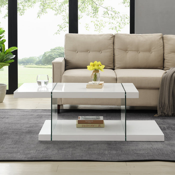 Albion White High Gloss and Glass Coffee Table 3