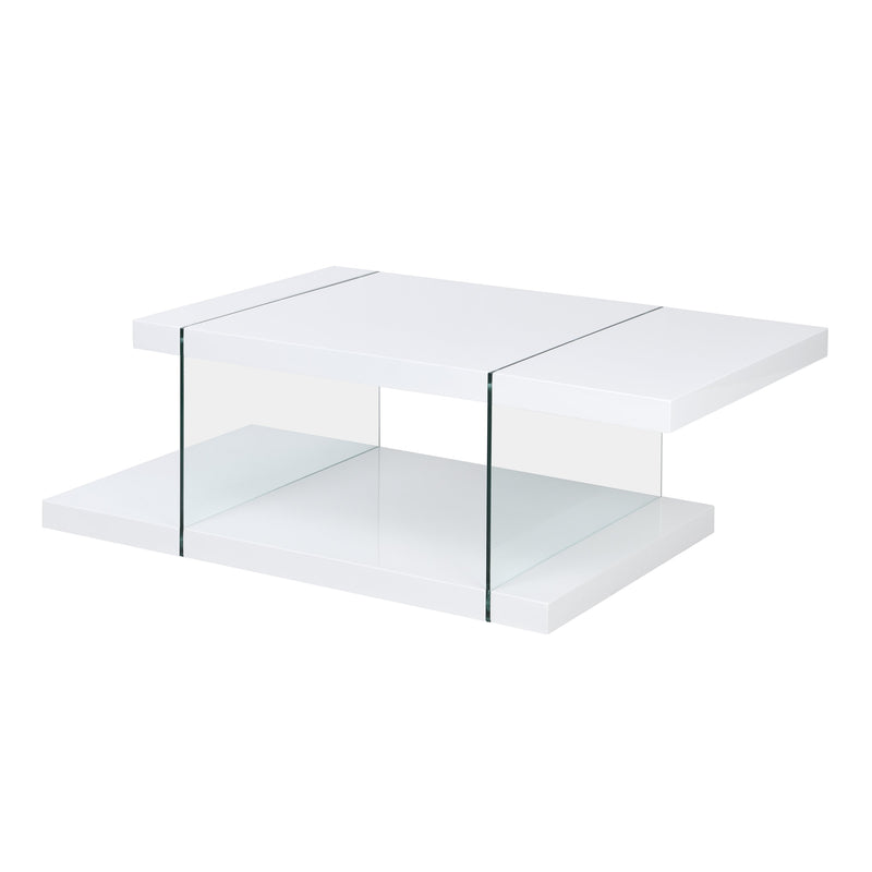 Albion White High Gloss and Glass Coffee Table 4