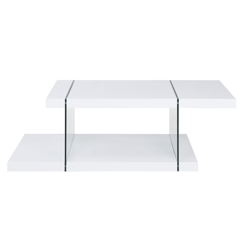 Albion White High Gloss and Glass Coffee Table 5