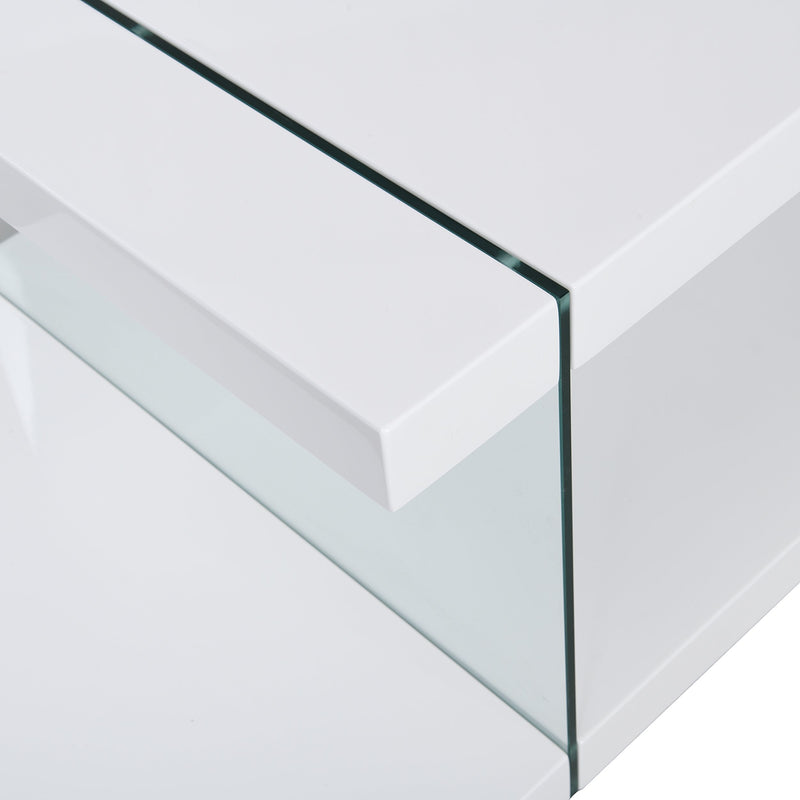Albion White High Gloss and Glass Coffee Table 7