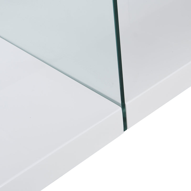 Albion White High Gloss and Glass Coffee Table 8