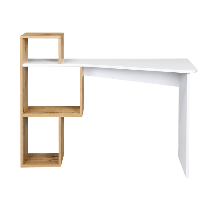 Mason White High Gloss Desk with Oak Effect Shelves 3