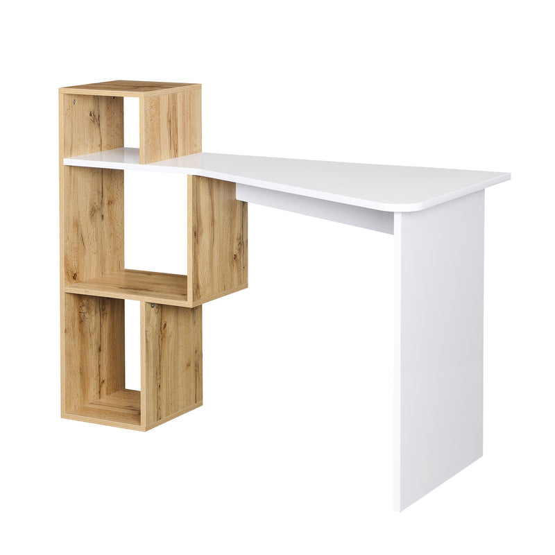 Mason White High Gloss Desk with Oak Effect Shelves 4