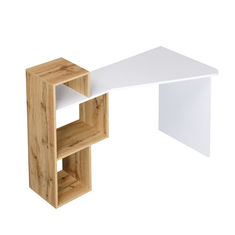 Mason White High Gloss Desk with Oak Effect Shelves 6