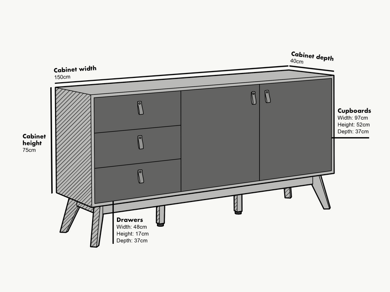 Tallis Two Tone Sideboard with 2 doors and 3 drawers 5