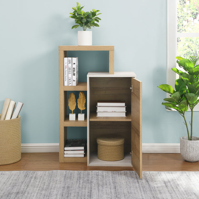 Sandy Floor Standing Storage Cabinet with Shelving Unit