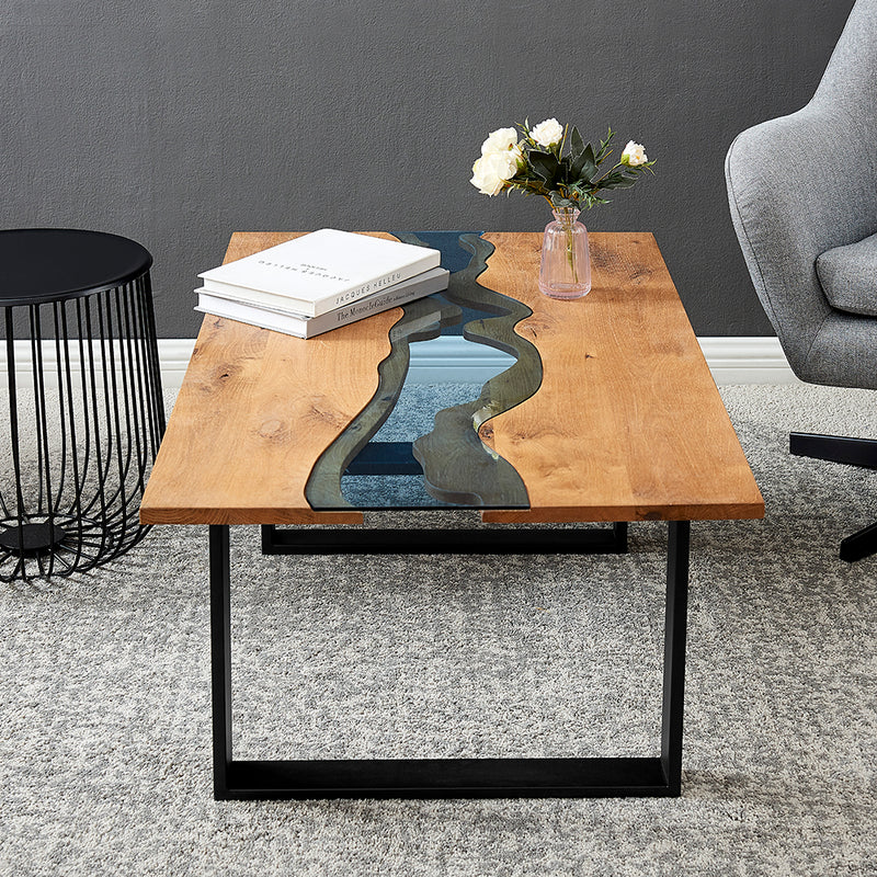 Kelonwa River Effect solid Oak and inset Glass Coffee Table 3