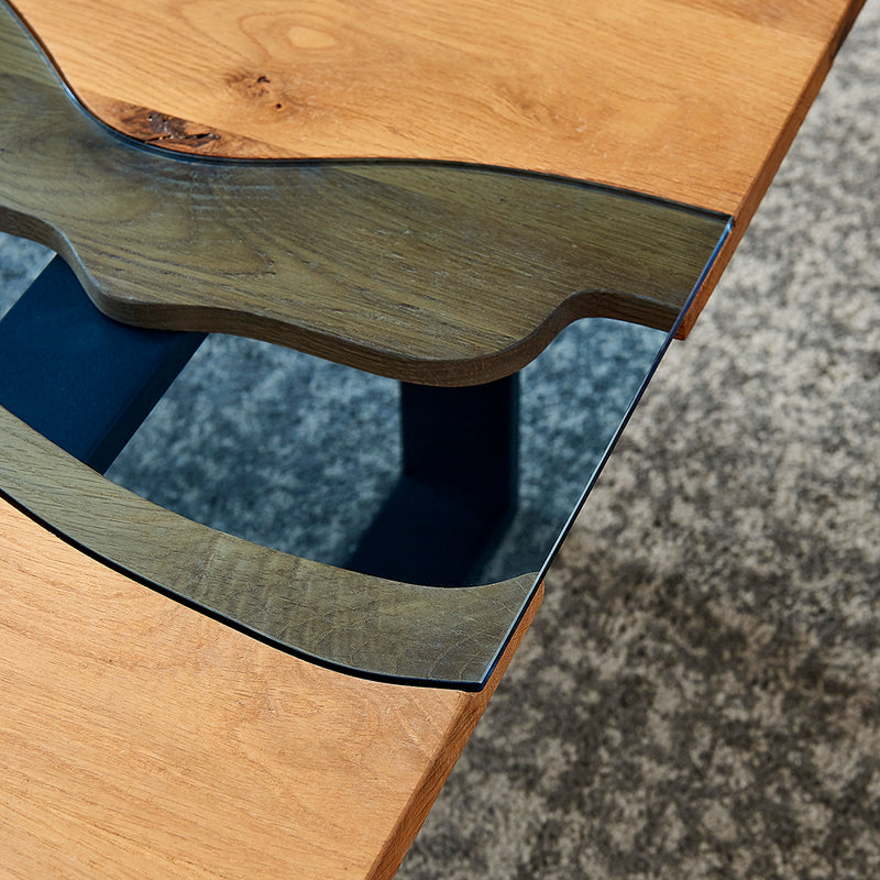 Kelonwa River Effect solid Oak and inset Glass Coffee Table 4
