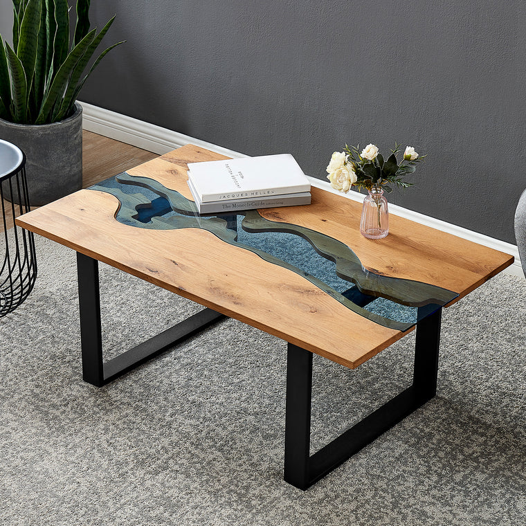 Kelonwa River Effect solid Oak and inset Glass Coffee Table
