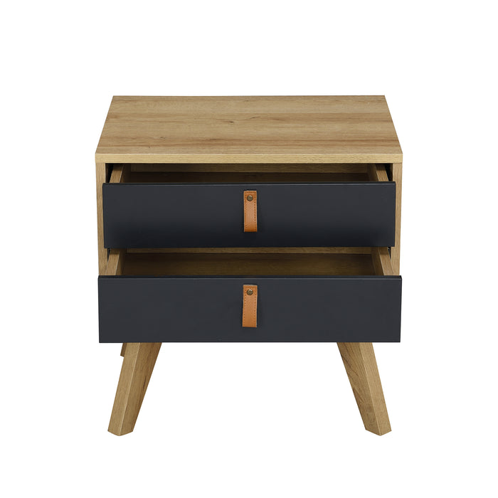 Tallis Two Tone Bedside Table with 2 drawers  4