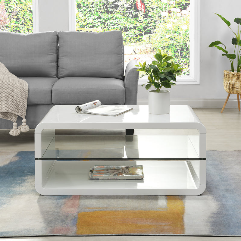 Lucent White High Gloss and Glass Coffee Table 2