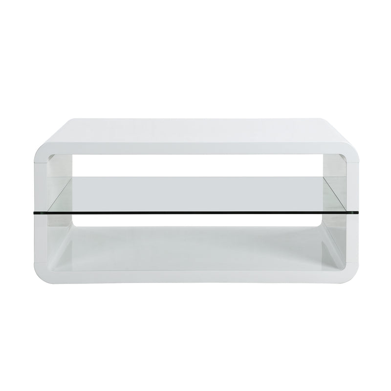 Lucent White High Gloss and Glass Coffee Table 4