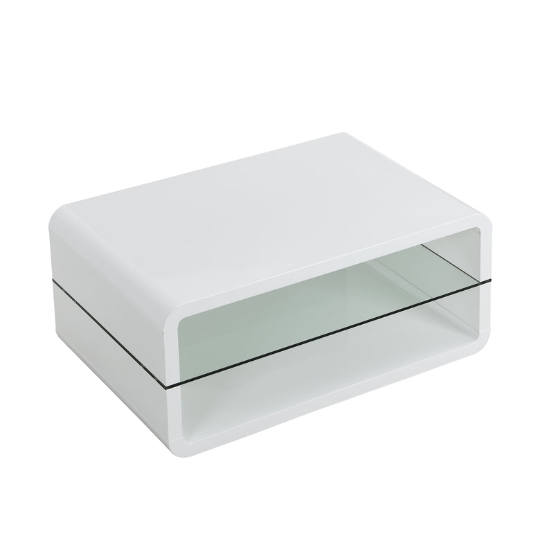 Lucent White High Gloss and Glass Coffee Table 6