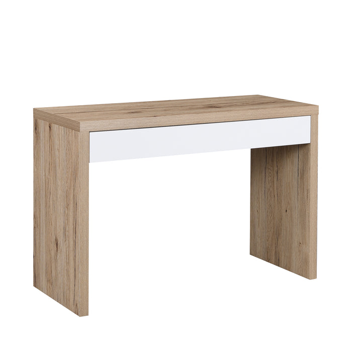 Poppins Matt White Oak Effect Desk or Console Table with Drawer 4