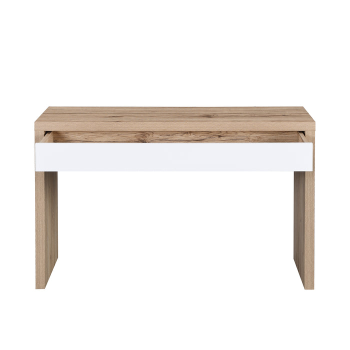 Poppins Matt White Oak Effect Desk or Console Table with Drawer 6