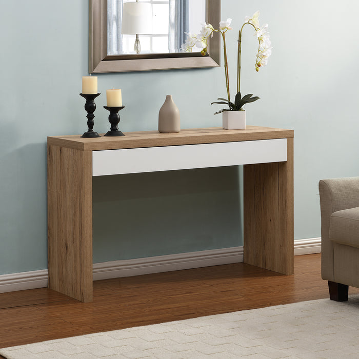 Poppins Matt White Oak Effect Desk or Console Table with Drawer 2