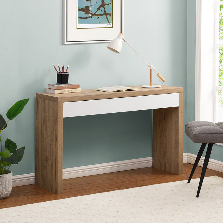 Poppins Matt White Oak Effect Desk or Console Table with Drawer