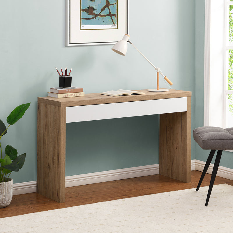 Poppins Matt White Oak Effect Desk or Console Table with Drawer 1