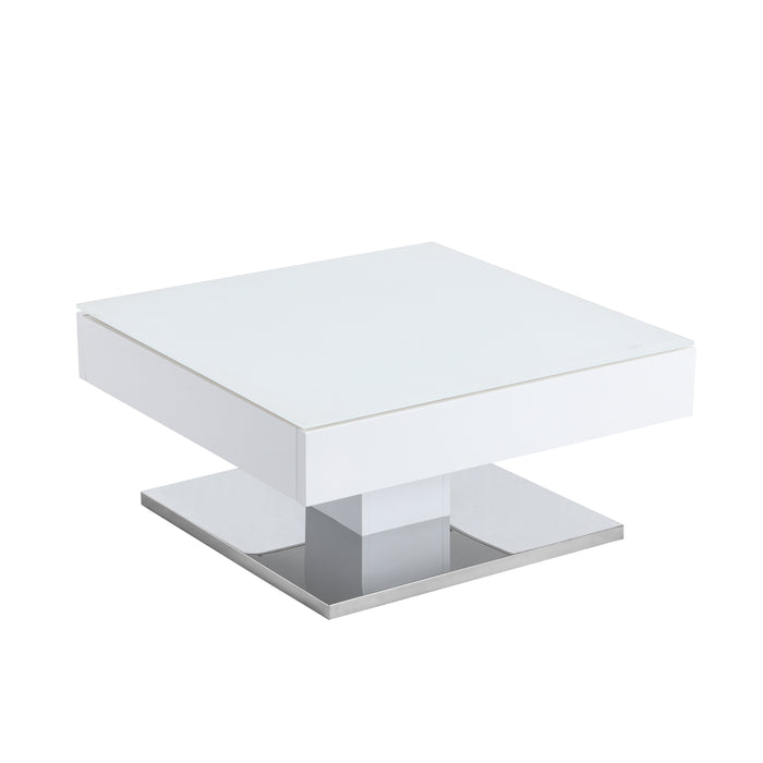 Finch White Swivel Frosted Glass Top Coffee Table with Stainless Steel Base 4