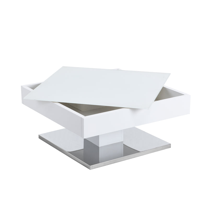 Finch White Swivel Frosted Glass Top Coffee Table with Stainless Steel Base 5