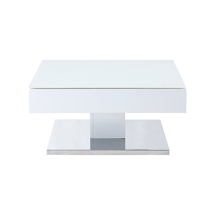 Finch White Swivel Frosted Glass Top Coffee Table with Stainless Steel Base 6