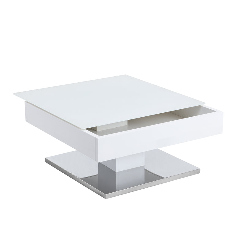 Finch White Swivel Frosted Glass Top Coffee Table with Stainless Steel Base 7