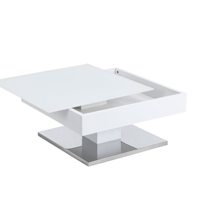 Finch White Swivel Frosted Glass Top Coffee Table with Stainless Steel Base 8