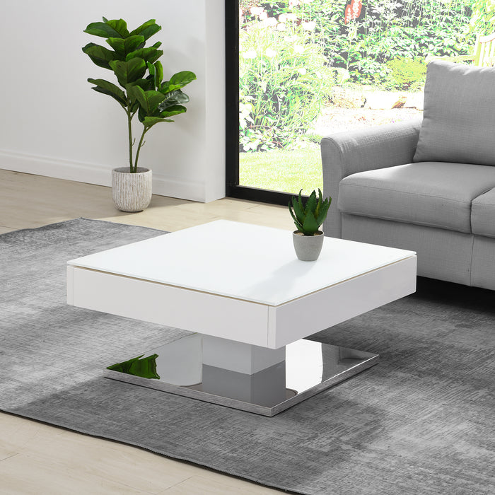 Finch White Swivel Frosted Glass Top Coffee Table with Stainless Steel Base 3
