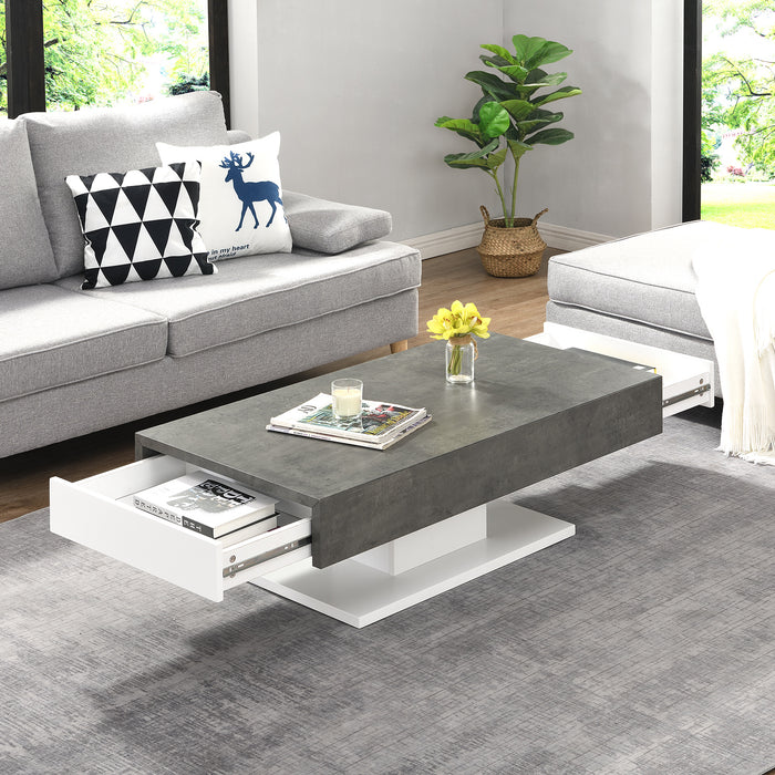 Goswell Concrete Effect Coffee Table with Double Drawers 2