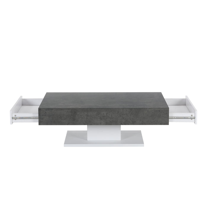 Goswell Concrete Effect Coffee Table with Double Drawers 3