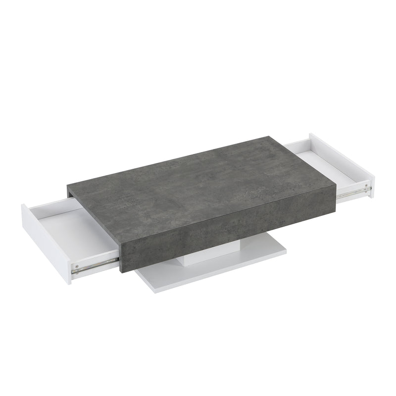 Goswell Concrete Effect Coffee Table with Double Drawers 5