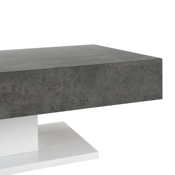 Goswell Concrete Effect Coffee Table with Double Drawers 7