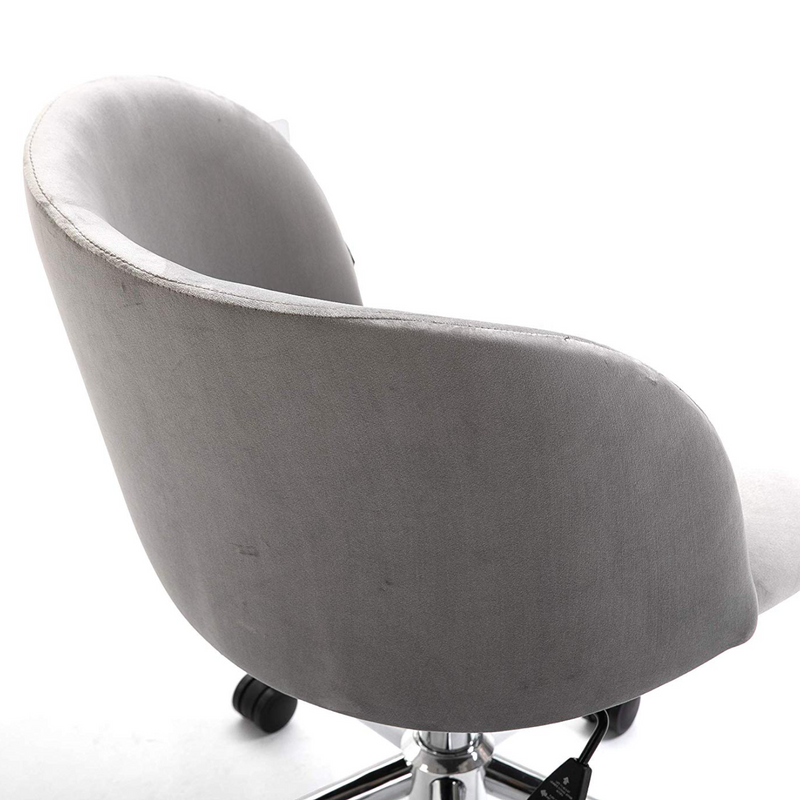 Cherry Tree Furniture Grey Velvet Fabric Desk Chair Swivel Chair with Chrome Feet