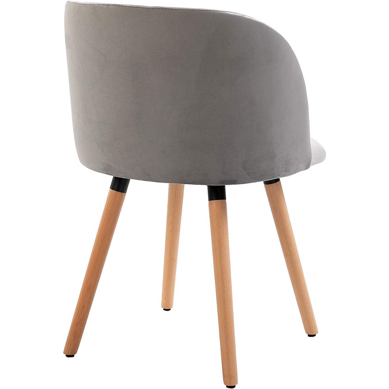 Cherry Tree Furniture Grey Velvet Fabric Chair with Solid Wood Legs