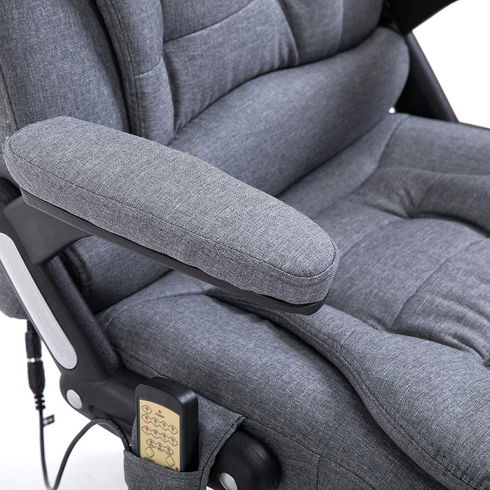 Executive Recline Padded Swivel Office Chair with Vibrating Massage Function, MM17 Grey Fabric