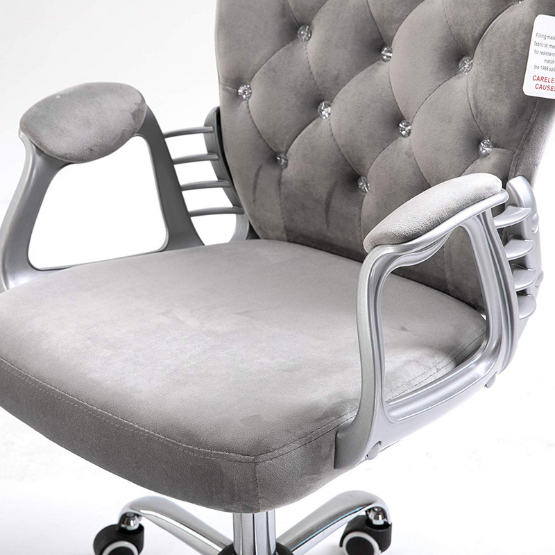 Cherry Tree Furniture Chesterfield Diamante Button Swivel Chair with Chrome Feet, MO85 Grey Velvet