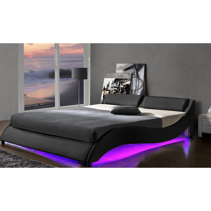 CORVUS Faux Leather Upholstered Bed Frame with Underbed LED Lights, Black