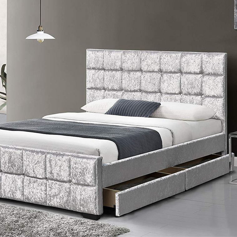 Cherry Tree Furniture 4-Drawers Crushed Velvet Upholstered Storage Bed Frame Bedstead 4FT6 Double/w Drawers, Silver