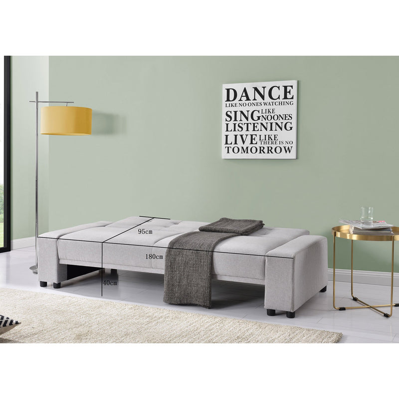 BEATRICE Light Grey Fabric 3-Seater Sofa Bed Sleeper Sofa, Grey