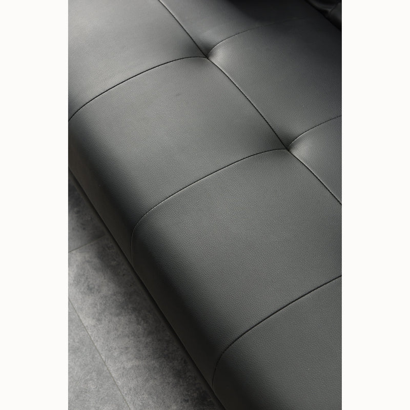 ACRUX 3-Seater Sofa Bed with Cup Holders & Cushions, Black PU - DaAl's