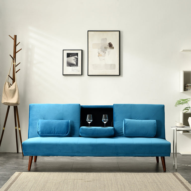 Acrux 3 Seater Sofa Bed in Blue Velvet