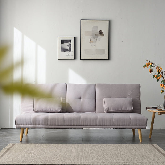 ACRUX 3-Seater Sofa Bed with Cup Holders & Cushions, Light Grey Fabric - DaAl's