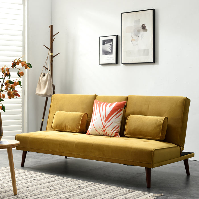 Acrux 3 Seater Sofa Bed in Mustard Velvet 2