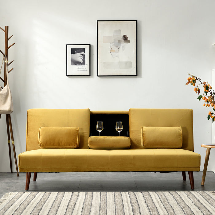 Acrux 3 Seater Sofa Bed in Mustard Velvet 3