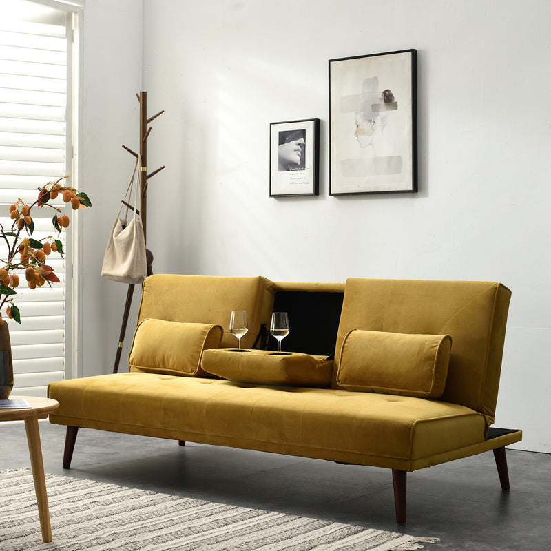 Acrux 3 Seater Sofa Bed in Mustard Velvet 4