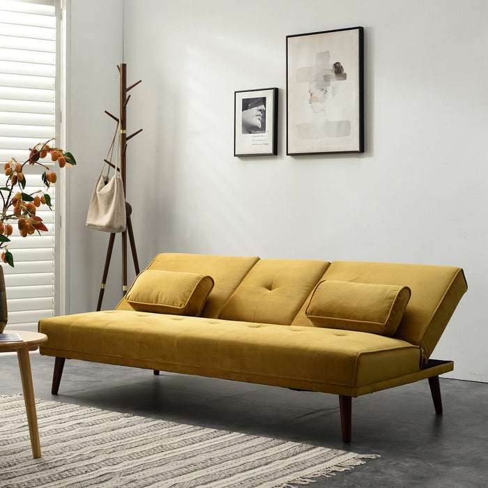 Acrux 3 Seater Sofa Bed in Mustard Velvet 5